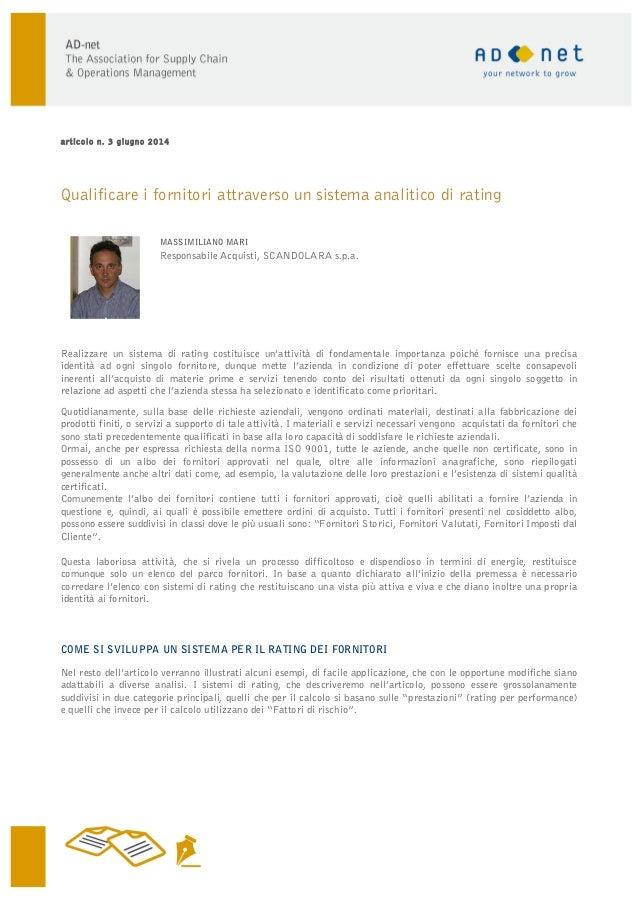 Articolo Mari rating-fornitori_ad-net_giugno_2014