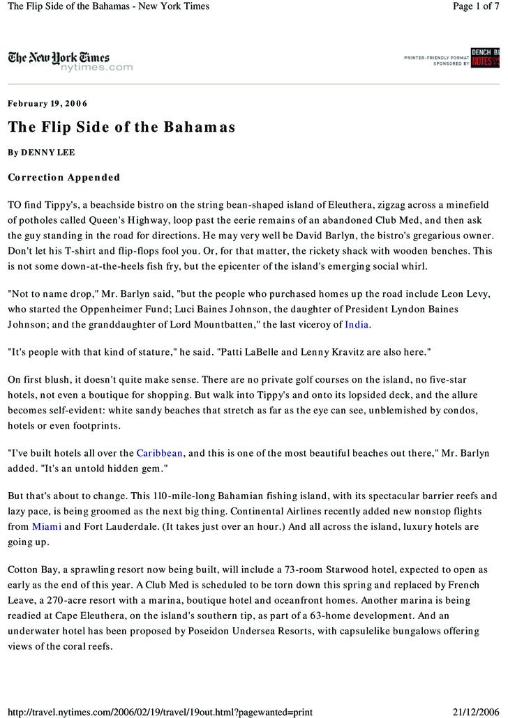 The Flip Side of the Bahamas - New York Times                                                         Page 1 of 7     Febr...