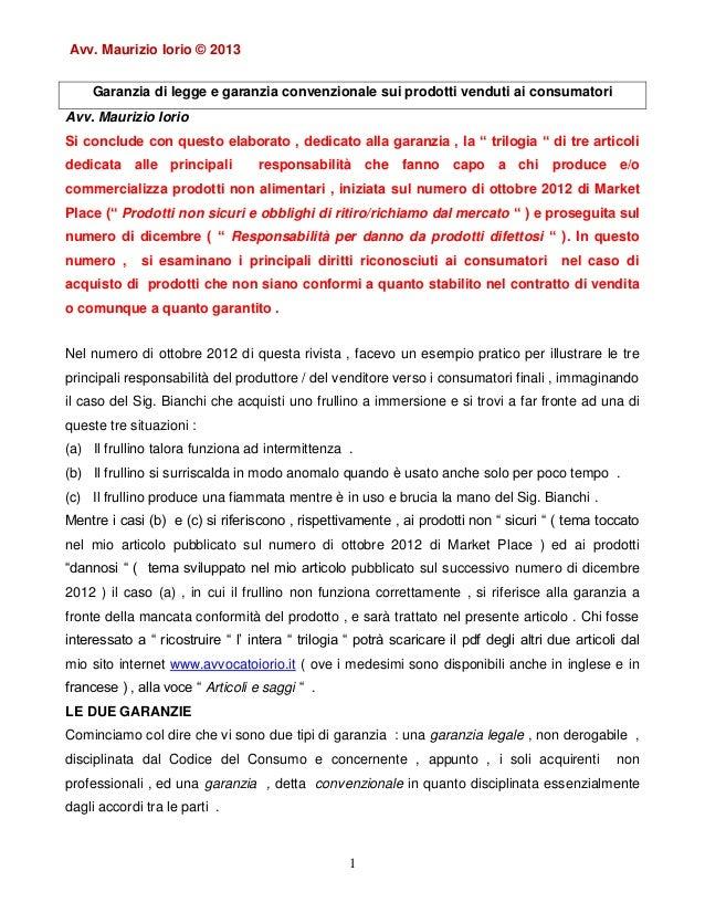 Articolo sulla garanzia legale   mp di marzo 2013