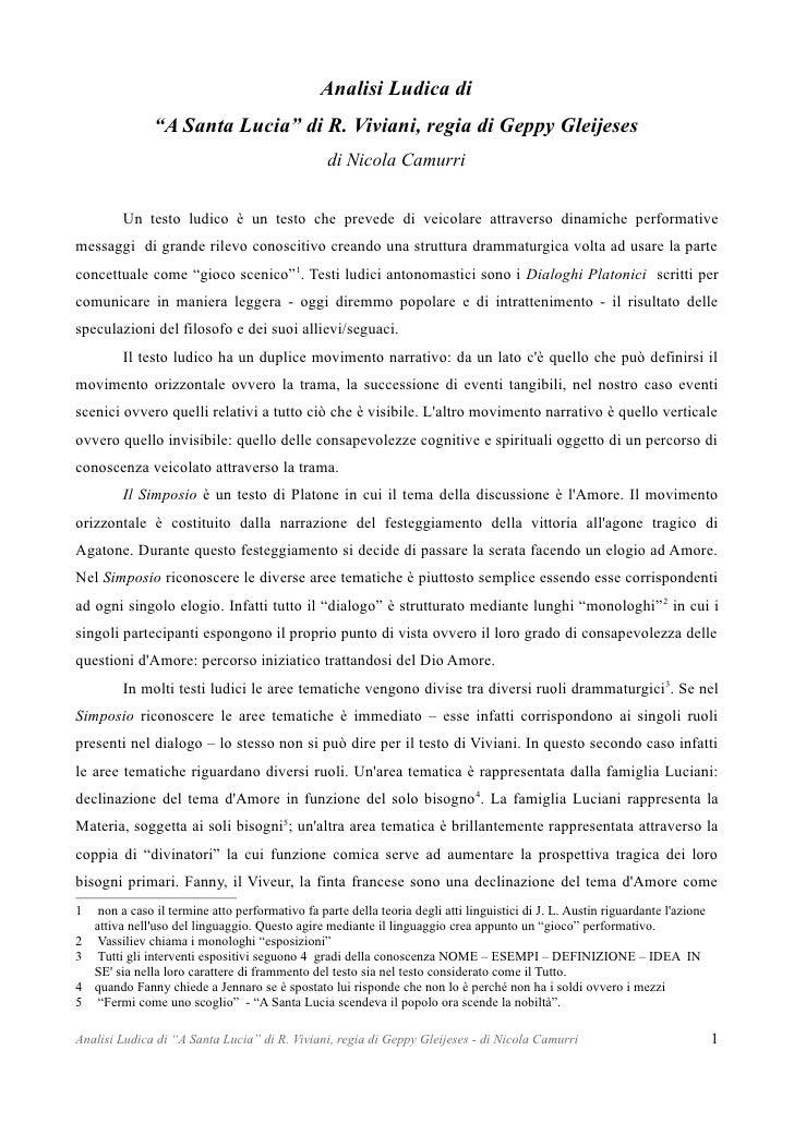 "Analisi Ludica di               ""A Santa Lucia"" di R. Viviani, regia di Geppy Gleijeses                                   ..."