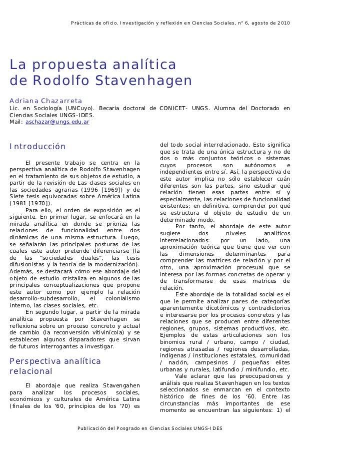 Prácticas de oficio. Investigación y reflexión en Ciencias Sociales, n° 6, agosto de 2010La propuesta analíticade Rodolfo ...