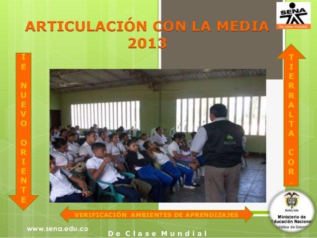 ARTICULACIÓN CON LA MEDIA          2013I                                                       TE                         ...