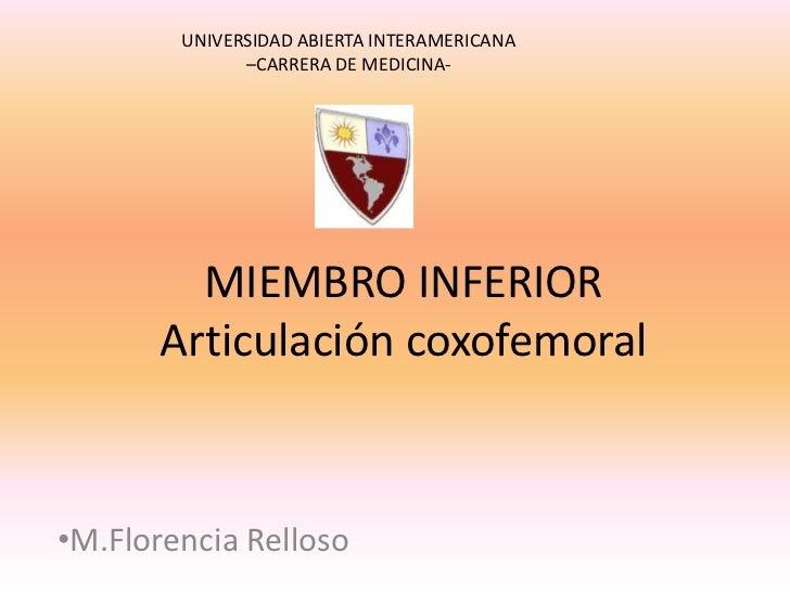 Articulacion Coxofemoral