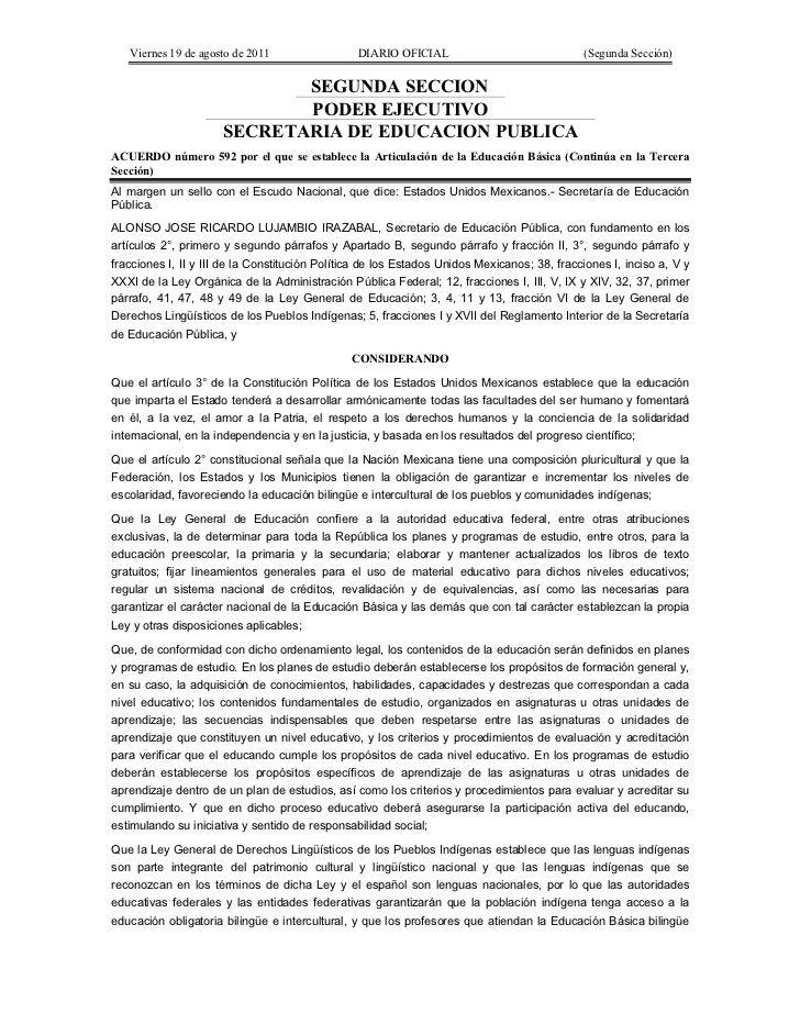 Viernes 19 de agosto de 2011                  DIARIO OFICIAL                              (Segunda Sección)               ...