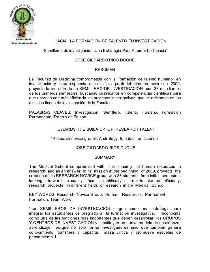 """HACIA LA FORMACION DE TALENTO EN INVESTIGACION       """"Semilleros de investigación: Una Estrategia Para Abordar La Ciencia""""..."""