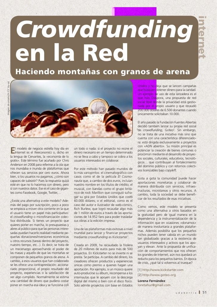 Crowdfunding en la Red. Haciendo montañas con granos de arena