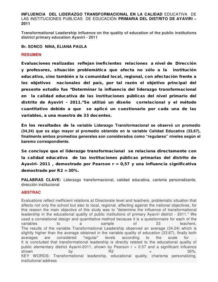 INFLUENCIA DEL LIDERAZGO TRANSFORMACIONAL EN LA CALIDAD EDUCATIVA DELAS INSTITUCIONES PUBLICAS DE EDUCACIÓN PRIMARIA DEL D...
