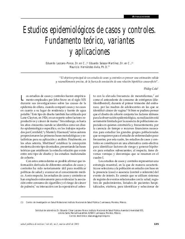Estudios epidemiológicos de casos y controles                                                                             ...