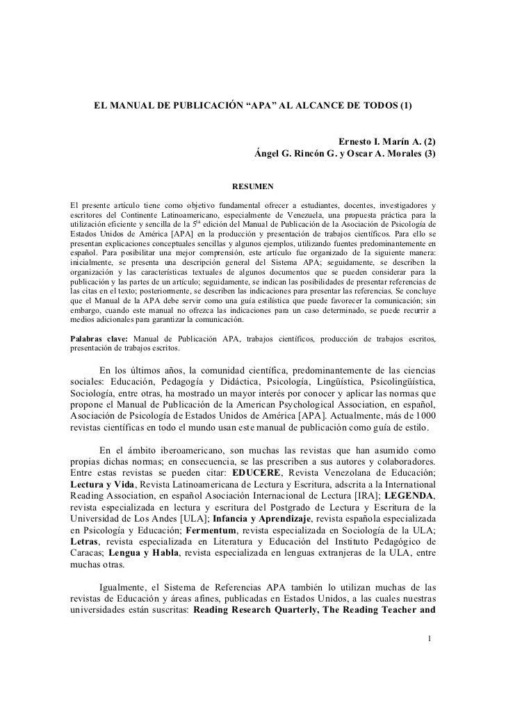 """EL MANUAL DE PUBLICACIÓN """"APA"""" AL ALCANCE DE TODOS (1)                                                                    ..."""