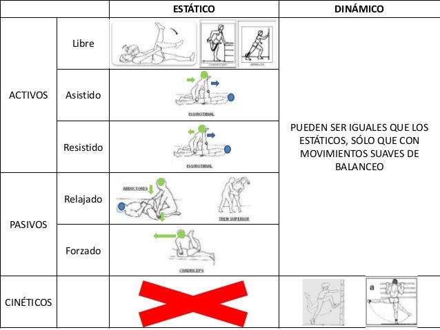 ESTÁTICODINÁMICO Libre ACTIVOS Asistido Resistido Relajado PASIVOS Forzado CINÉTICOS PUEDEN SER IGUALES QUE LOS E...