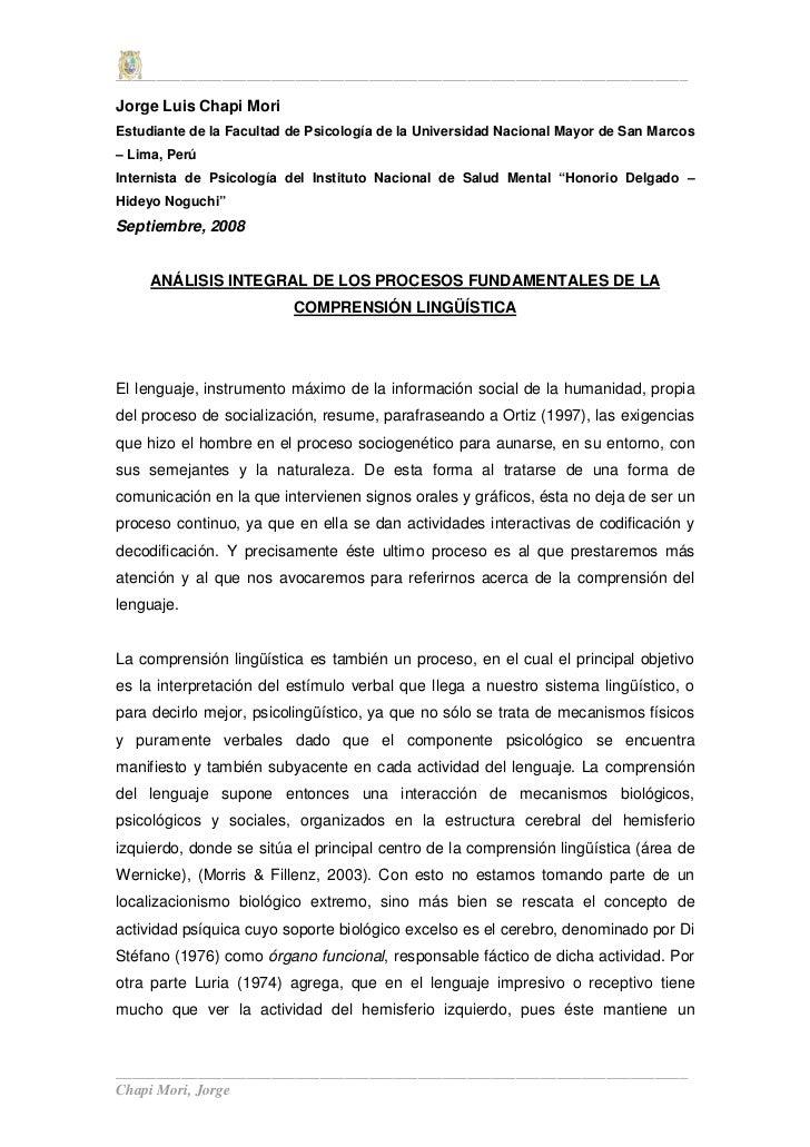 ______________________________________________________________________ Jorge Luis Chapi Mori Estudiante de la Facultad de ...
