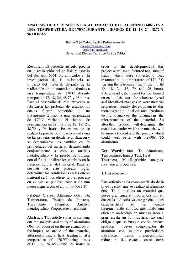 ANÁLISIS DE LA RESISTENCIA AL IMPACTO DEL ALUMINIO 6061-T6 AUNA TEMPERATURA DE 170ºC DURANTE TIEMPOS DE 12, 18, 24, 48,72 ...