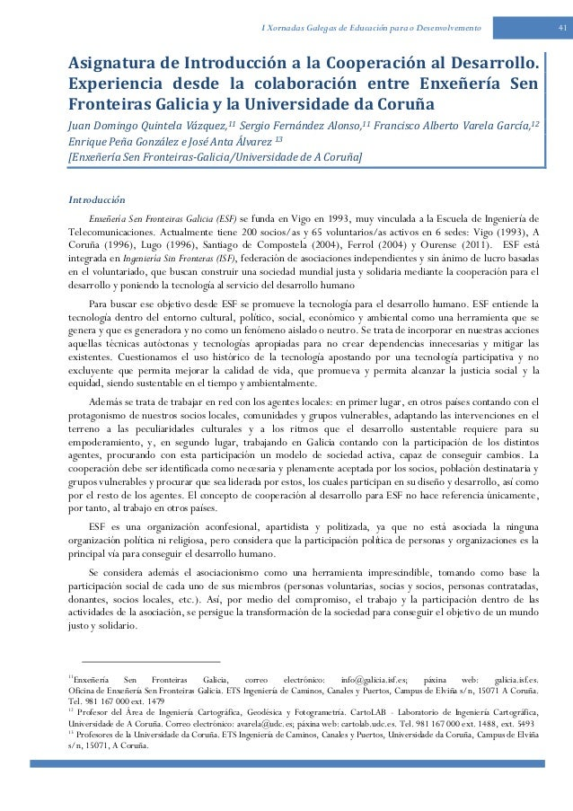 41I Xornadas Galegas de Educación para o DesenvolvementoAsignatura de Introducción a la Cooperación al Desarrollo.Experien...