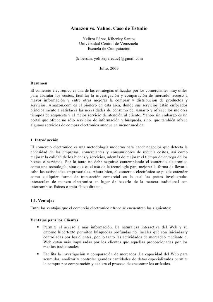 Amazon vs. Yahoo. Caso de Estudio                                Yelitza Pérez, Kiberley Santos                           ...