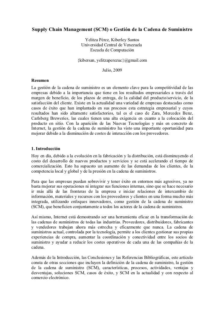 Supply Chain Management (SCM) o Gestión de la Cadena de Suministro                                Yelitza Pérez, Kiberley ...