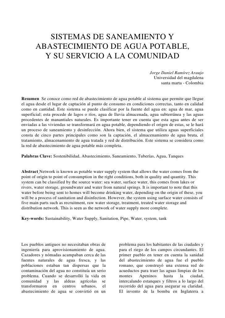 SISTEMAS DE SANEAMIENTO Y ABASTECIMIENTO DE AGUA POTABLE,<br />Y SU SERVICIO A LA COMUNIDAD<br />Jorge Daniel Ramírez Arau...