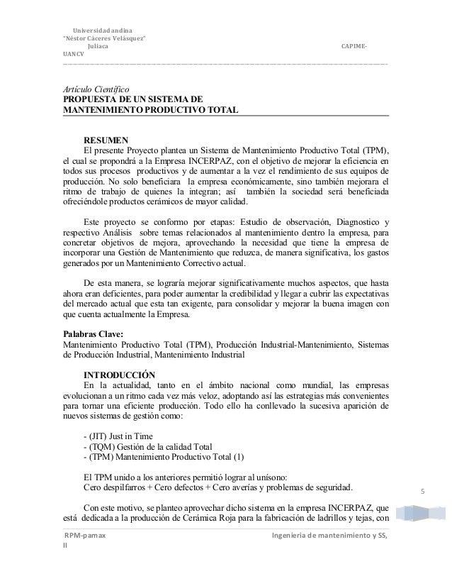 "5 Universidad andina ""Néstor Cáceres Velásquez"" Juliaca CAPIME- UANCV ____________________________________________________..."