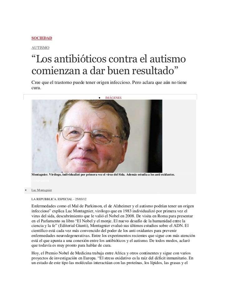 """SOCIEDADAUTISMO""""Los antibióticos contra el autismocomienzan a dar buen resultado""""Cree que el trastorno puede tener origen ..."""