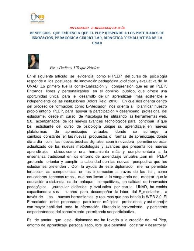 DIPLOMADO E-MEDIADOR EN AVA Beneficios que evidencia que el PLEP responde a los postulados de innovación, pedagógica curri...