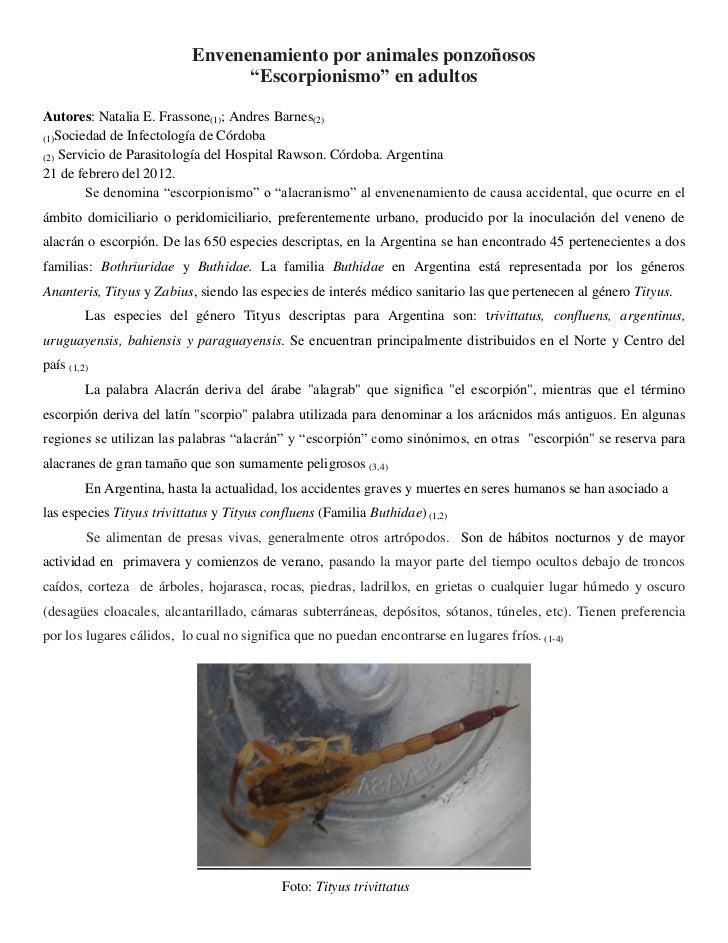 "Envenenamiento por animales ponzoñosos                                 ""Escorpionismo"" en adultosAutores: Natalia E. Frass..."