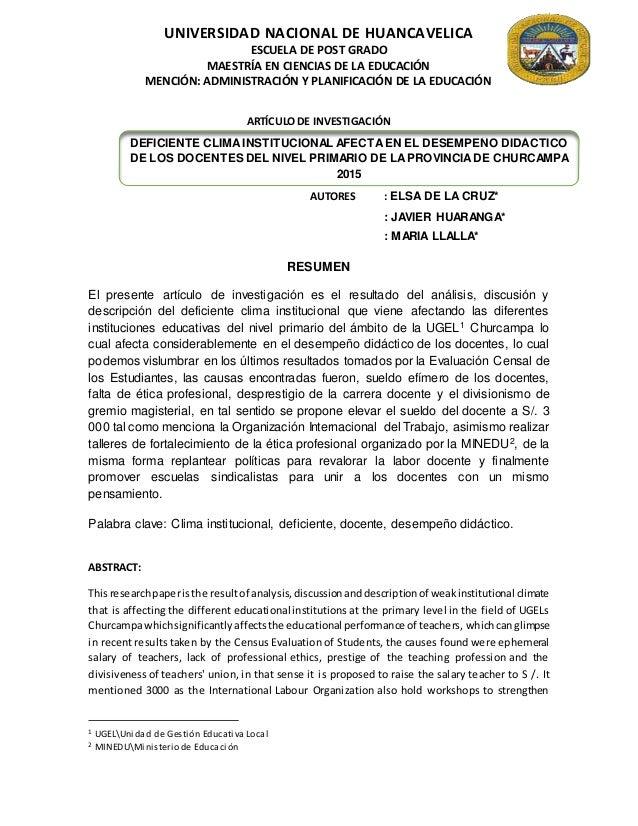 UNIVERSIDAD NACIONAL DE HUANCAVELICA ESCUELA DE POST GRADO MAESTRÍA EN CIENCIAS DE LA EDUCACIÓN MENCIÓN: ADMINISTRACIÓN Y ...