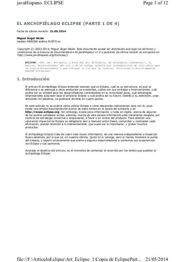 Artículo 1 sobre la plataforma ECLIPSE