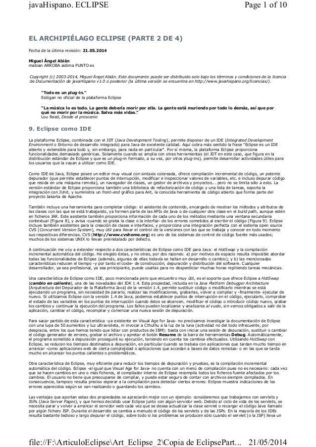 EL ARCHIPIÉLAGO ECLIPSE (PARTE 2 DE 4) Fecha de la última revisión: 21.05.2014 Miguel Ángel Abián mabian ARROBA aidima PUN...