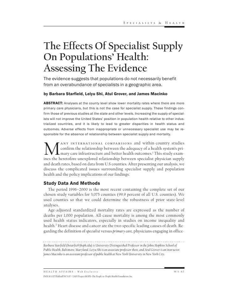 Sp e c i a li s ts   &   H e a lthThe Effects Of Specialist SupplyOn Populations' Health:Assessing The EvidenceThe evidenc...