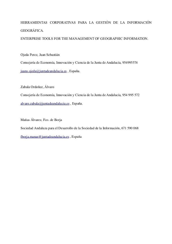 Herramientas Geográficas Corporativas de la Junta de Andalucia