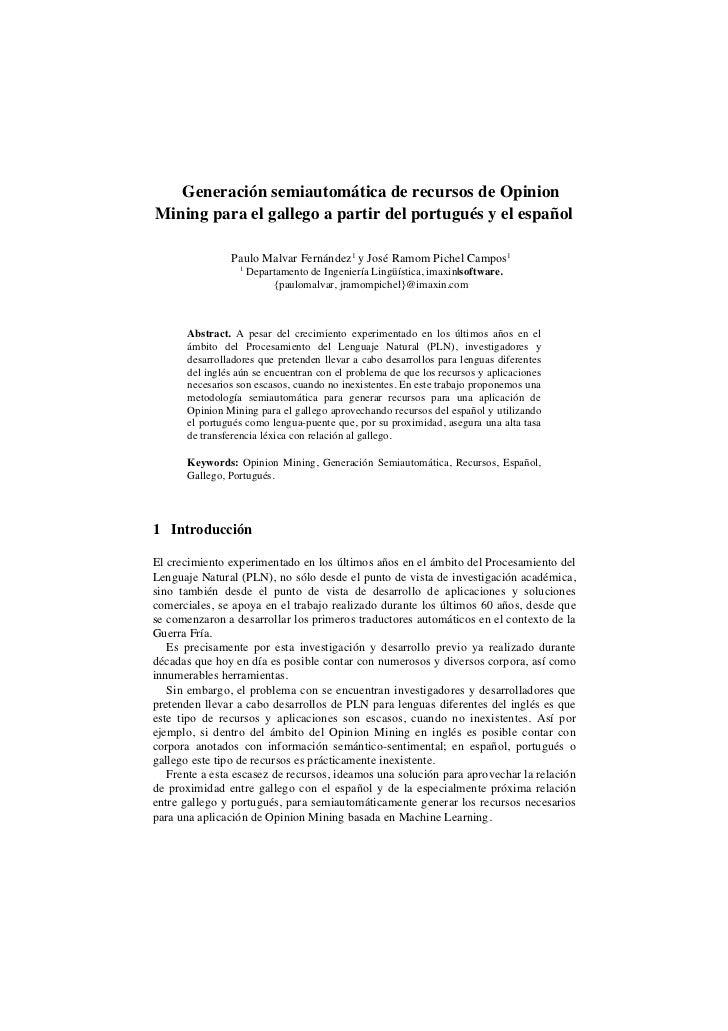 Generación semiautomática de recursos de OpinionMining para el gallego a partir del portugués y el español                ...