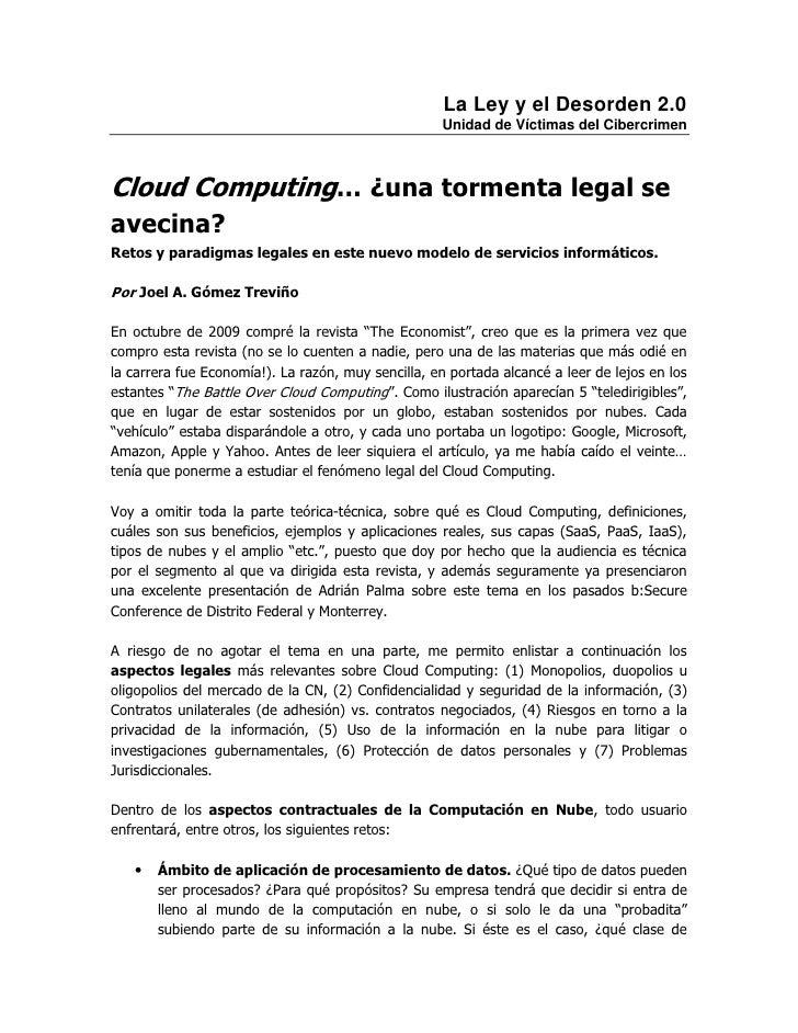 La Ley y el Desorden 2.0                                                    Unidad de Víctimas del CibercrimenCloud Comput...