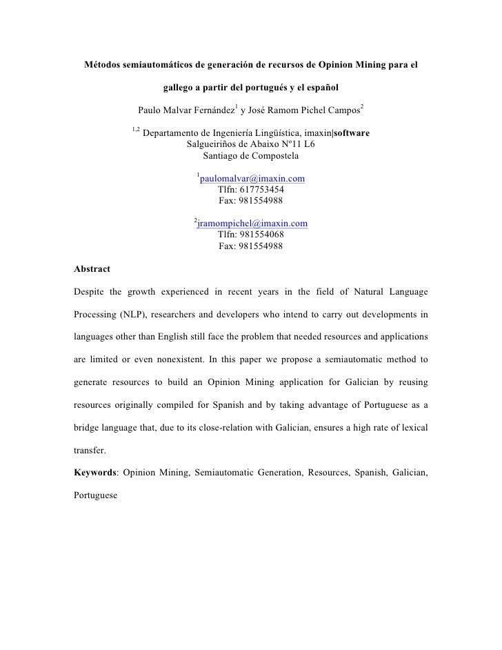 Métodos semiautomáticos de generación de recursos de Opinion Mining para el                         gallego a partir del p...