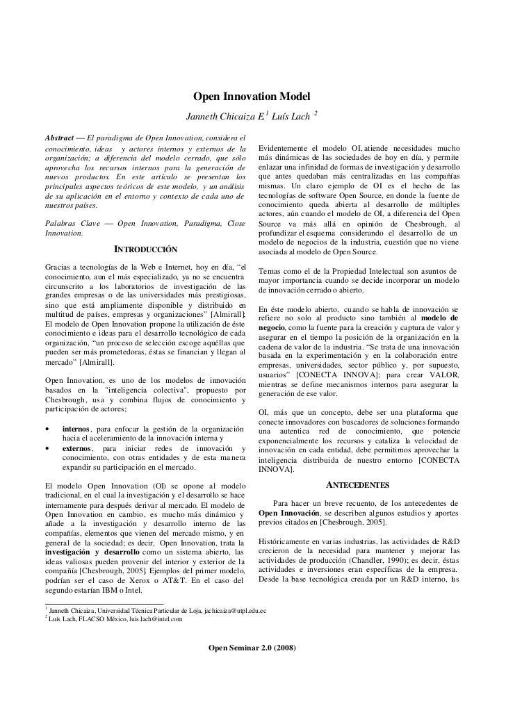 Open Innovation Model                                                       Janneth Chicaiza E.1 Luís Lach             2  ...