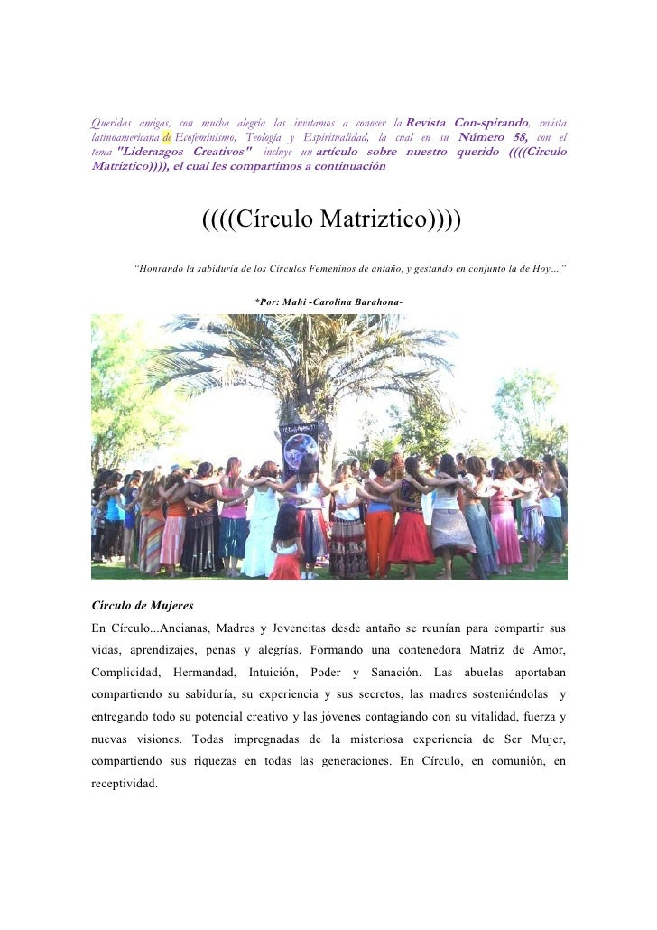 Queridas amigas, con mucha alegría las invitamos a conocer la Revista Con-spirando, revistalatinoamericana de Ecofeminismo...