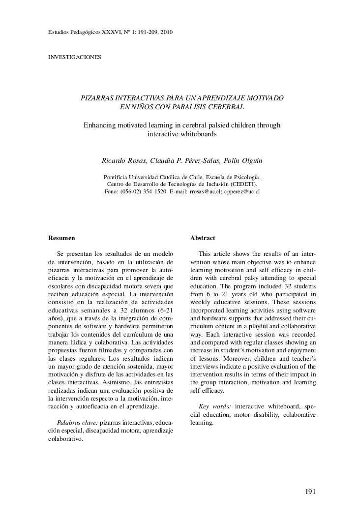 Estudios Pedagógicos XXXVI, Nº 1: 191-209, 2010             Estudios Pedagógicos XXXVI, Nº 1: 191-209, 2010        Pizarra...