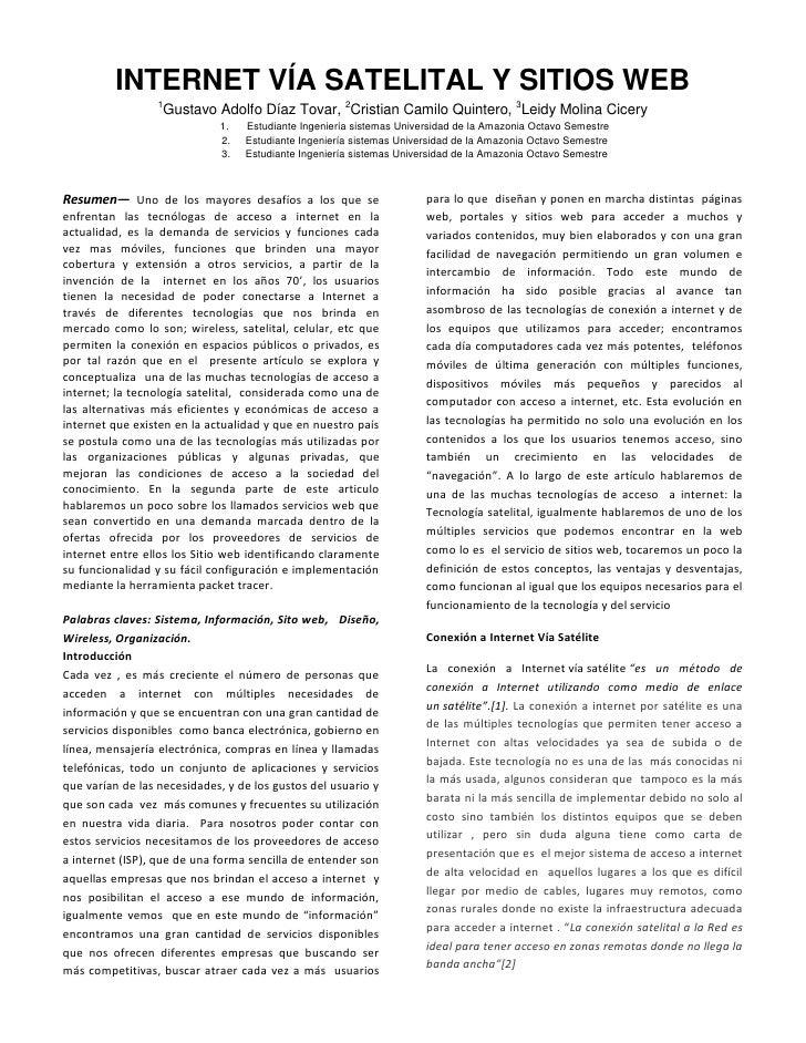 INTERNET VÍA SATELITAL Y SITIOS WEB                   1                   Gustavo Adolfo Díaz Tovar, 2Cristian Camilo Quin...