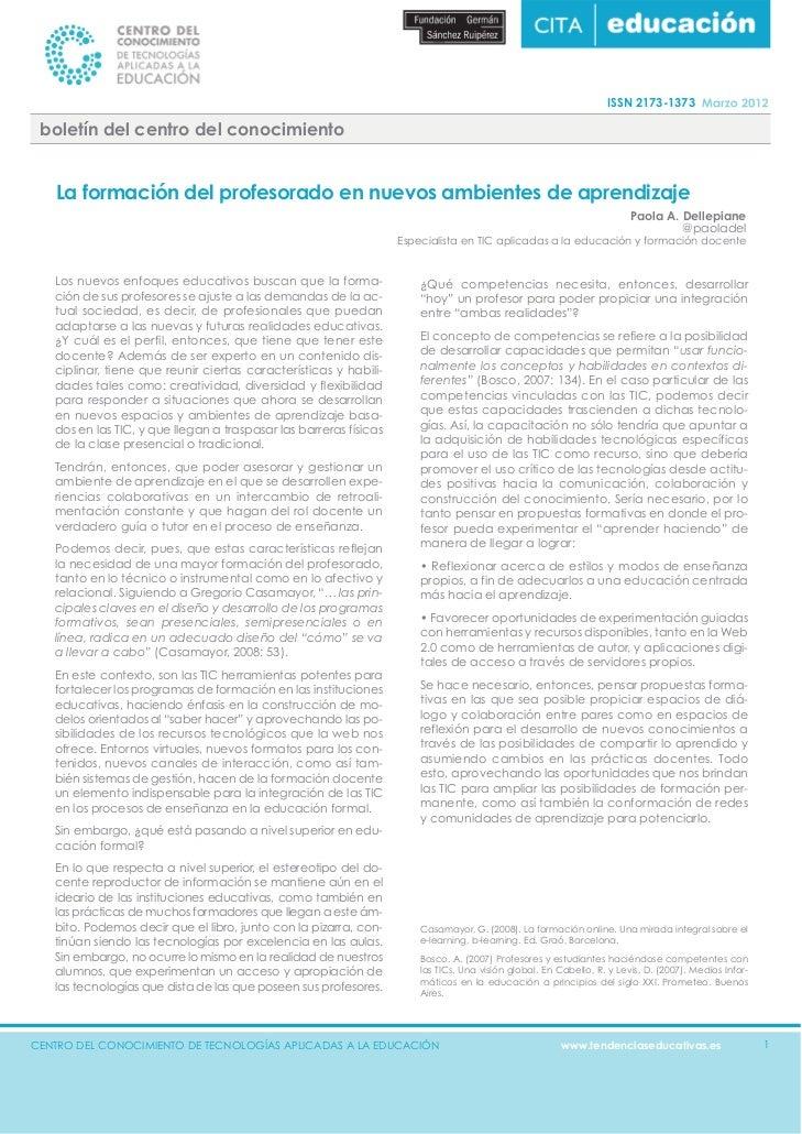 ISSN 2173-1373 boletín del centro del conocimiento   La formación del profesorado en nuevos ambientes de aprendizaje      ...