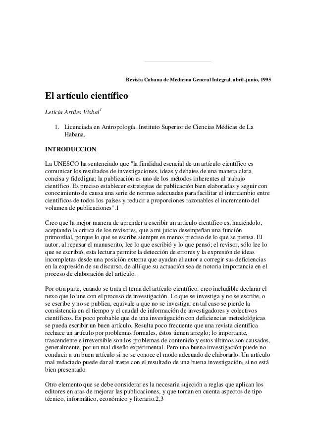 Revista Cubana de Medicina General Integral, abril-junio, 1995El artículo científicoLeticia Artiles Visbal11. Licenciada e...