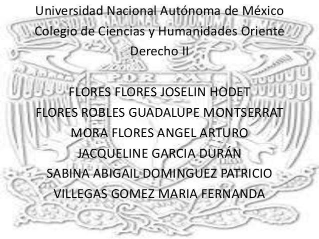 Universidad Nacional Autónoma de México Colegio de Ciencias y Humanidades Oriente Derecho II FLORES FLORES JOSELIN HODET F...