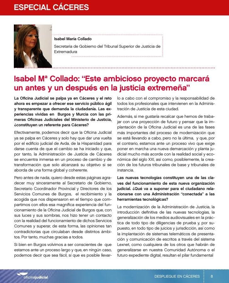 Entrevista a la secretaria de gobierno del Tribunal Superior de Justicia de Extremadura, Isabel Mª Collado