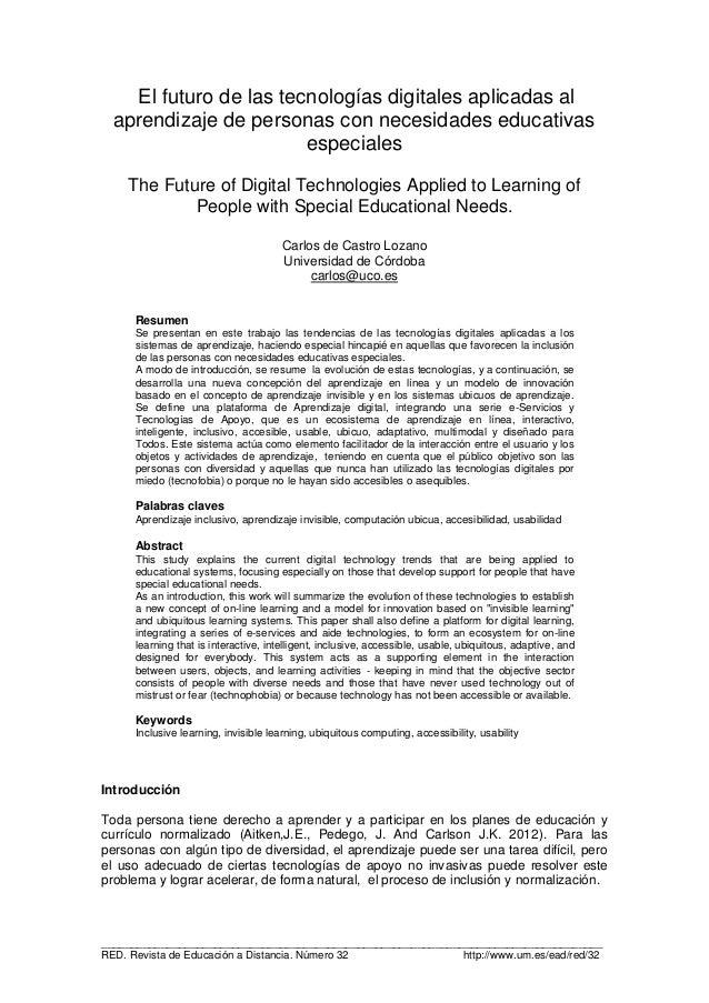 El futuro de las tecnologias digitales aplicadas al aprendizaje de personas con necesidades educativas especiales.