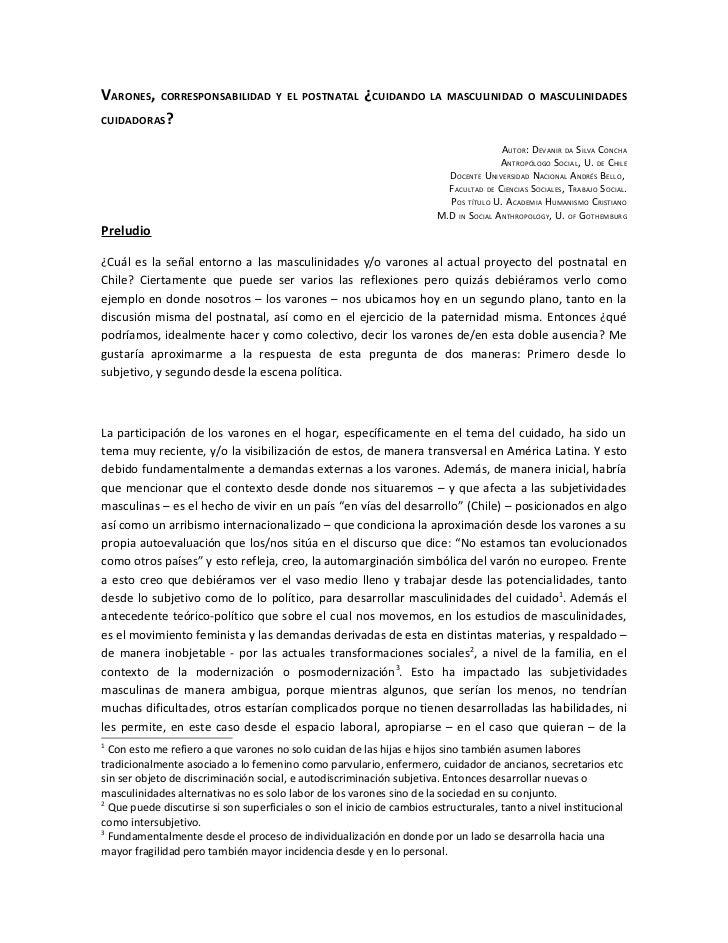 VARONES,    CORRESPONSABILIDAD Y EL POSTNATAL           ¿CUIDANDO      LA MASCULINIDAD O MASCULINIDADESCUIDADORAS?        ...