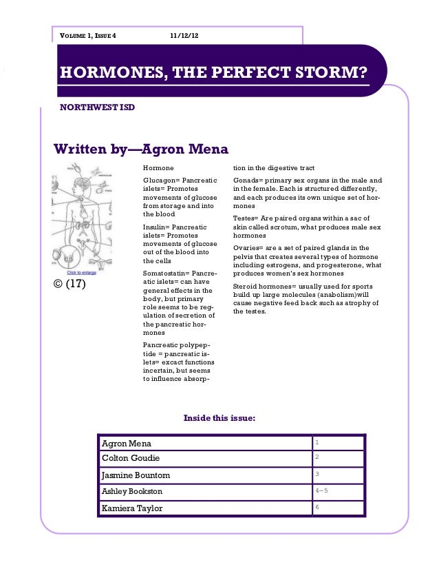 VOLUME 1, ISSUE 4             11/12/12 HORMONES, THE PERFECT STORM? NORTHWEST ISDWritten by—Agron Mena                    ...