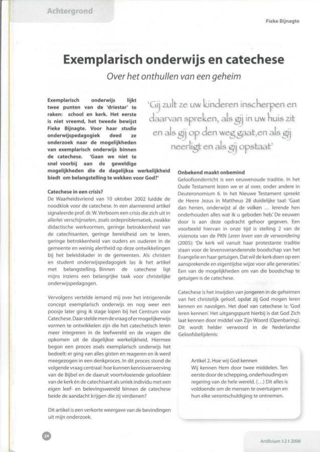 Artikel voor Artificium: Exemplarisch onderwijs en catechese