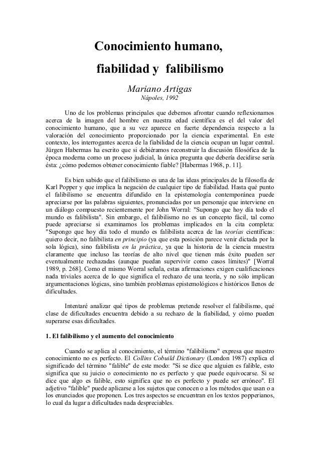 Conocimiento humano,                    fiabilidad y falibilismo                                Mariano Artigas           ...