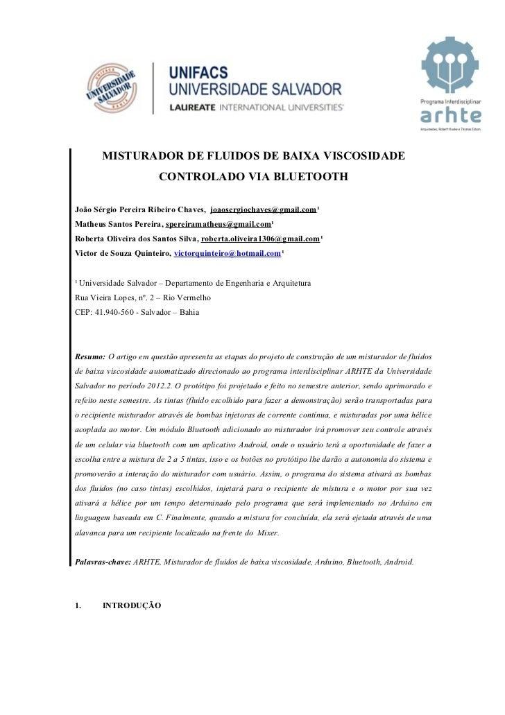 MISTURADOR DE FLUIDOS DE BAIXA VISCOSIDADE                        CONTROLADO VIA BLUETOOTHJoão Sérgio Pereira Ribeiro Chav...