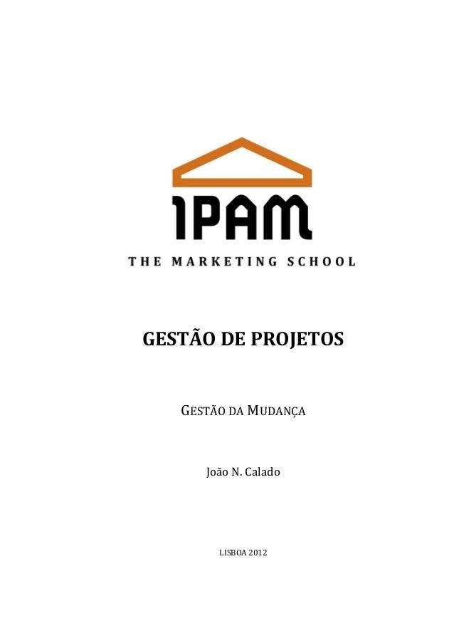 GESTÃO DE PROJETOS  GESTÃO DA MUDANÇA  João N. Calado  LISBOA 2012