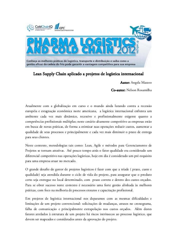 Lean Supply Chain aplicado a projetos de logística internacional                                                          ...