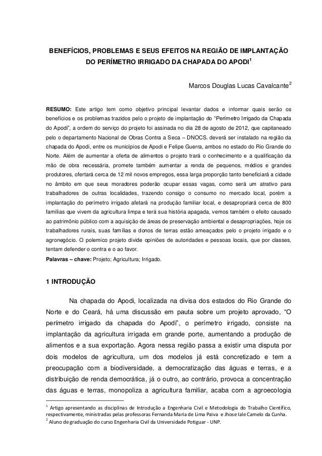 BENEFÍCIOS, PROBLEMAS E SEUS EFEITOS NA REGIÃO DE IMPLANTAÇÃO DO PERÍMETRO IRRIGADO DA CHAPADA DO APODI1 Marcos Douglas Lu...