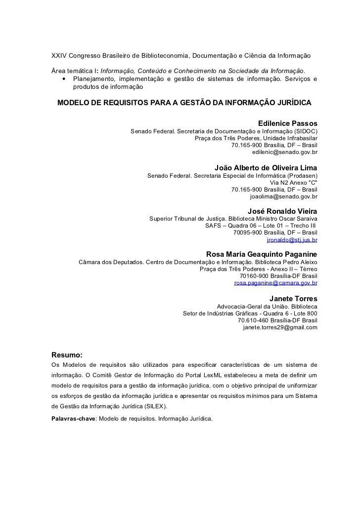 XXIV Congresso Brasileiro de Biblioteconomia, Documentação e Ciência da InformaçãoÁrea temática I: Informação, Conteúdo e ...